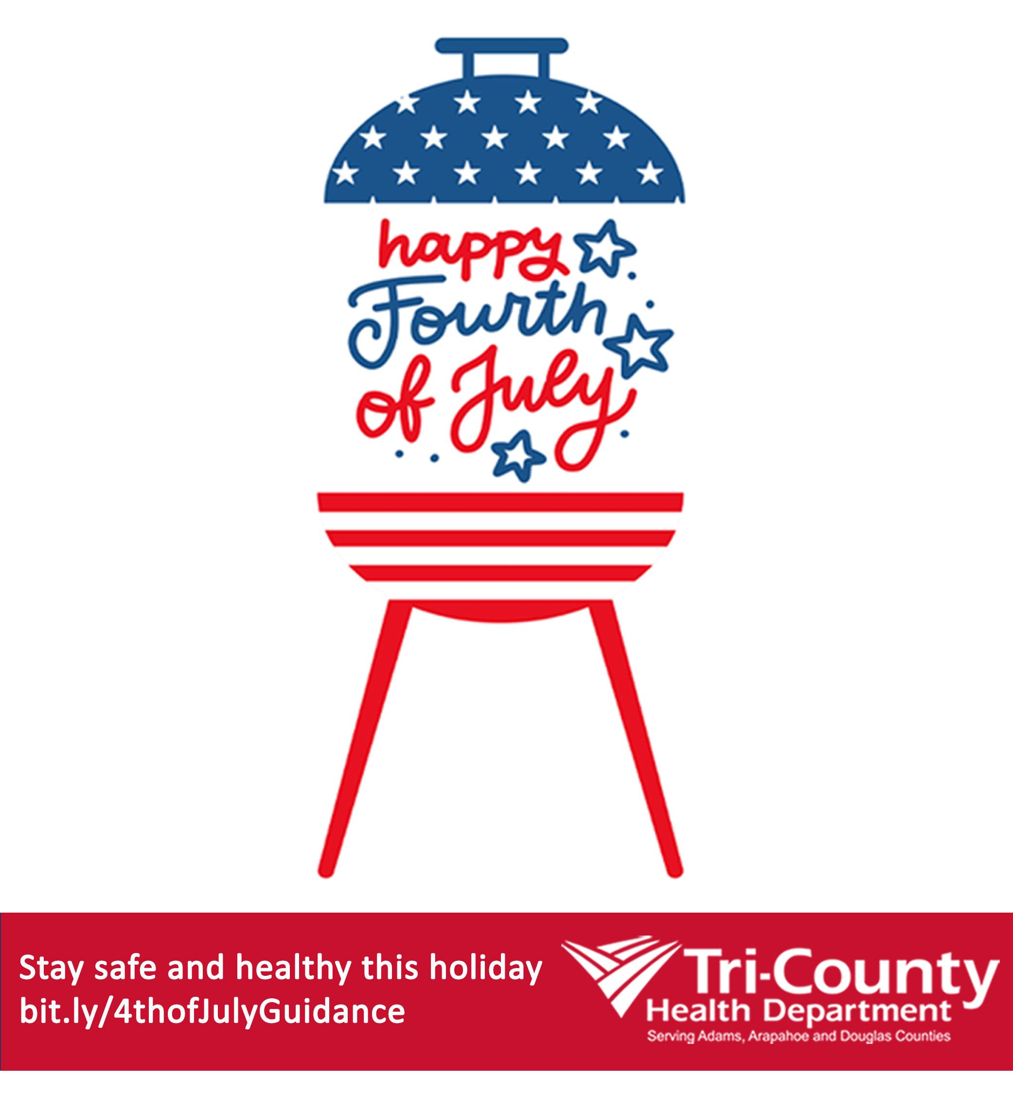 Illustration of grill with 4th of July patriotic theme