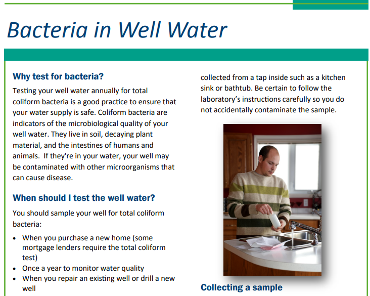 Information about bacteria in well water Opens in new window